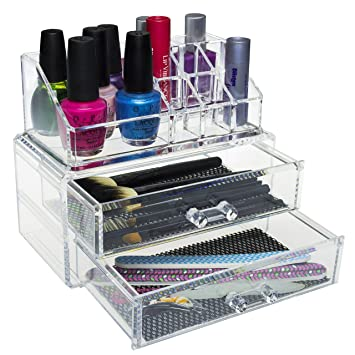 Pro Clear Acrylic Counter / Dresser Top 2 Drawers Cosmetics Makeup Organizer  Storage Display Box Caddy