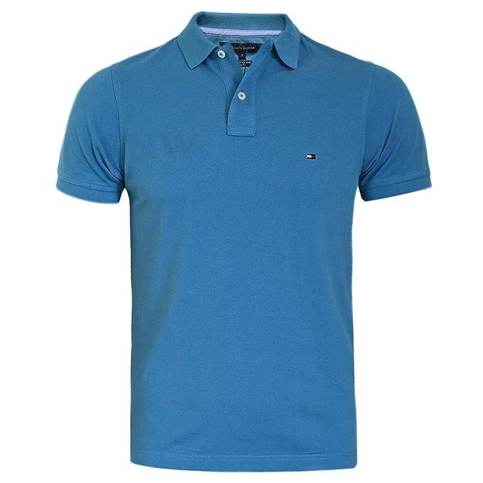 Tommy Hilfiger Hombre Polo Camiseta azul lavado, azul marino ...
