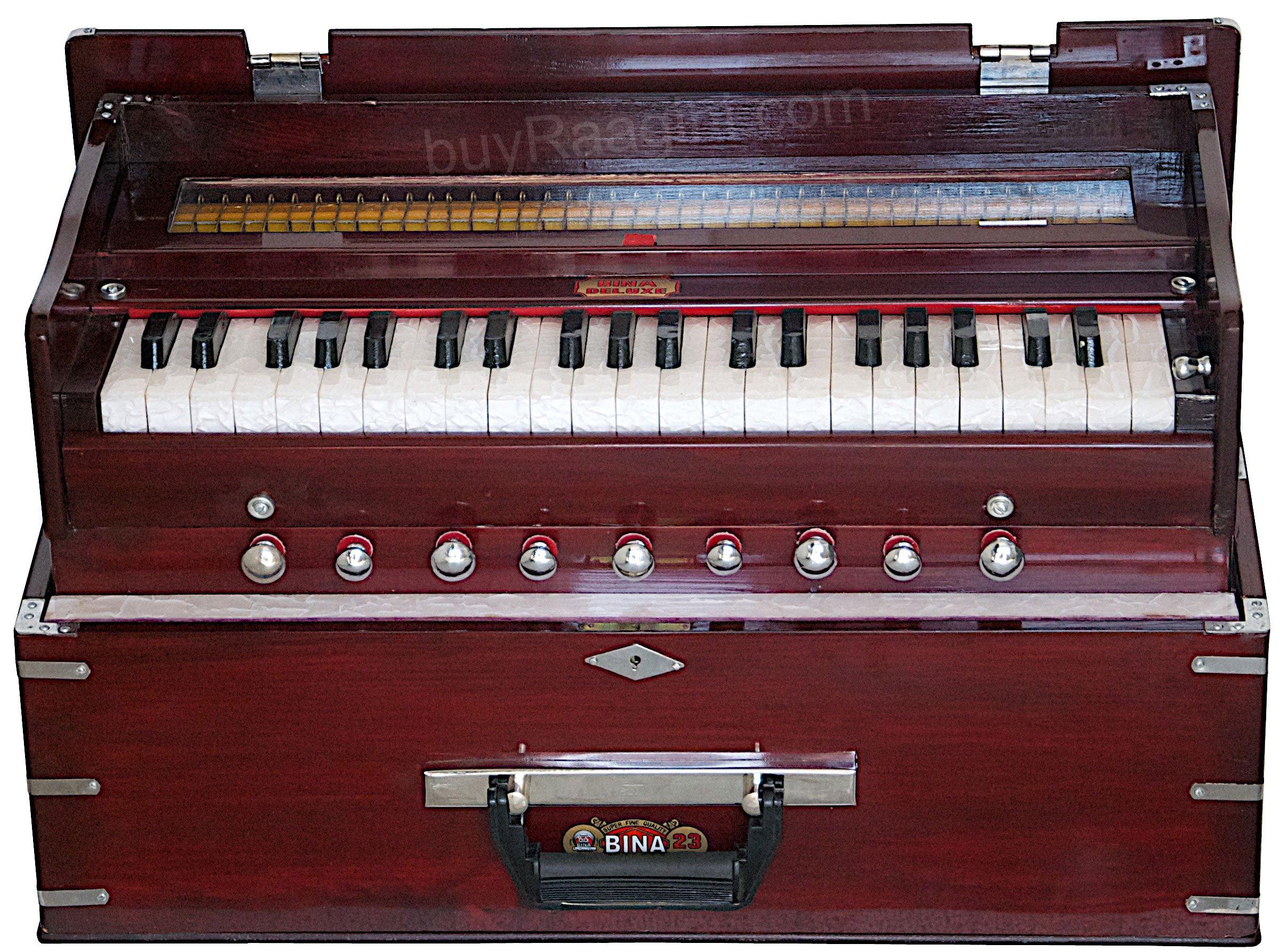 Harmonium BINA 23B, USA, Professional, Folding, Safri, 3 1/2 Octaves, 9 Stops, Rosewood Color, Coupler, Double Reed, Nylon Bag, Book, Indian Musical Instrument, Kirtan (PDI-AGH) by Bina