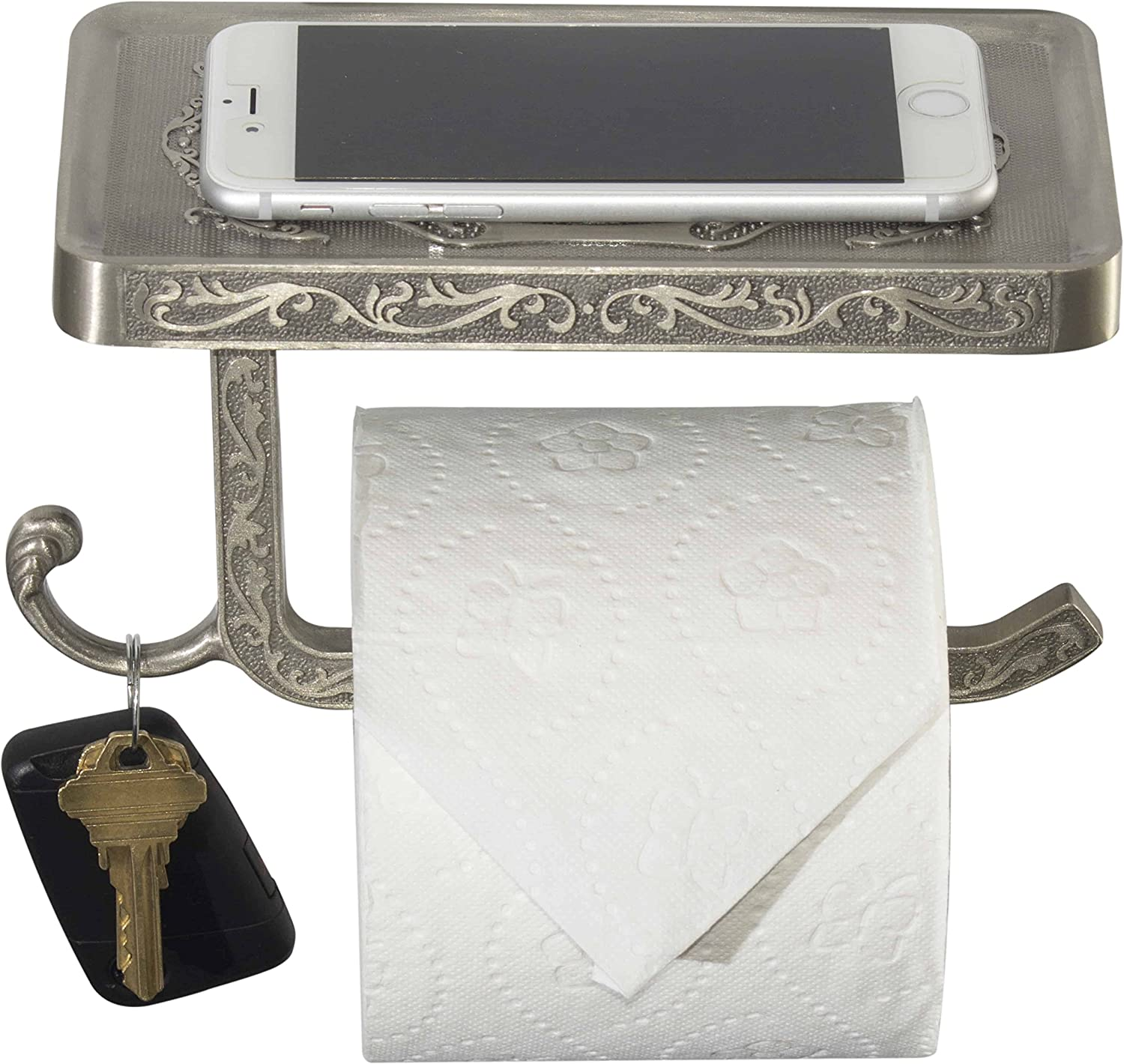 Neater Nest Reversible Toilet Paper Holder with Phone Shelf, Decor Style (Brushed Nickel)