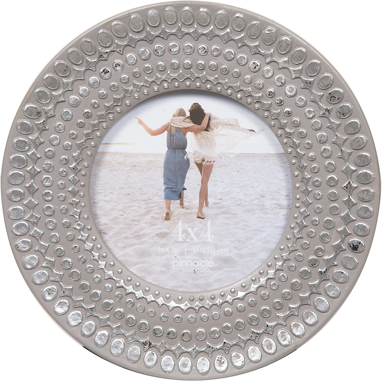 Pinnacle Frames and Accents 4X4 Grey Circle Silver DOTS