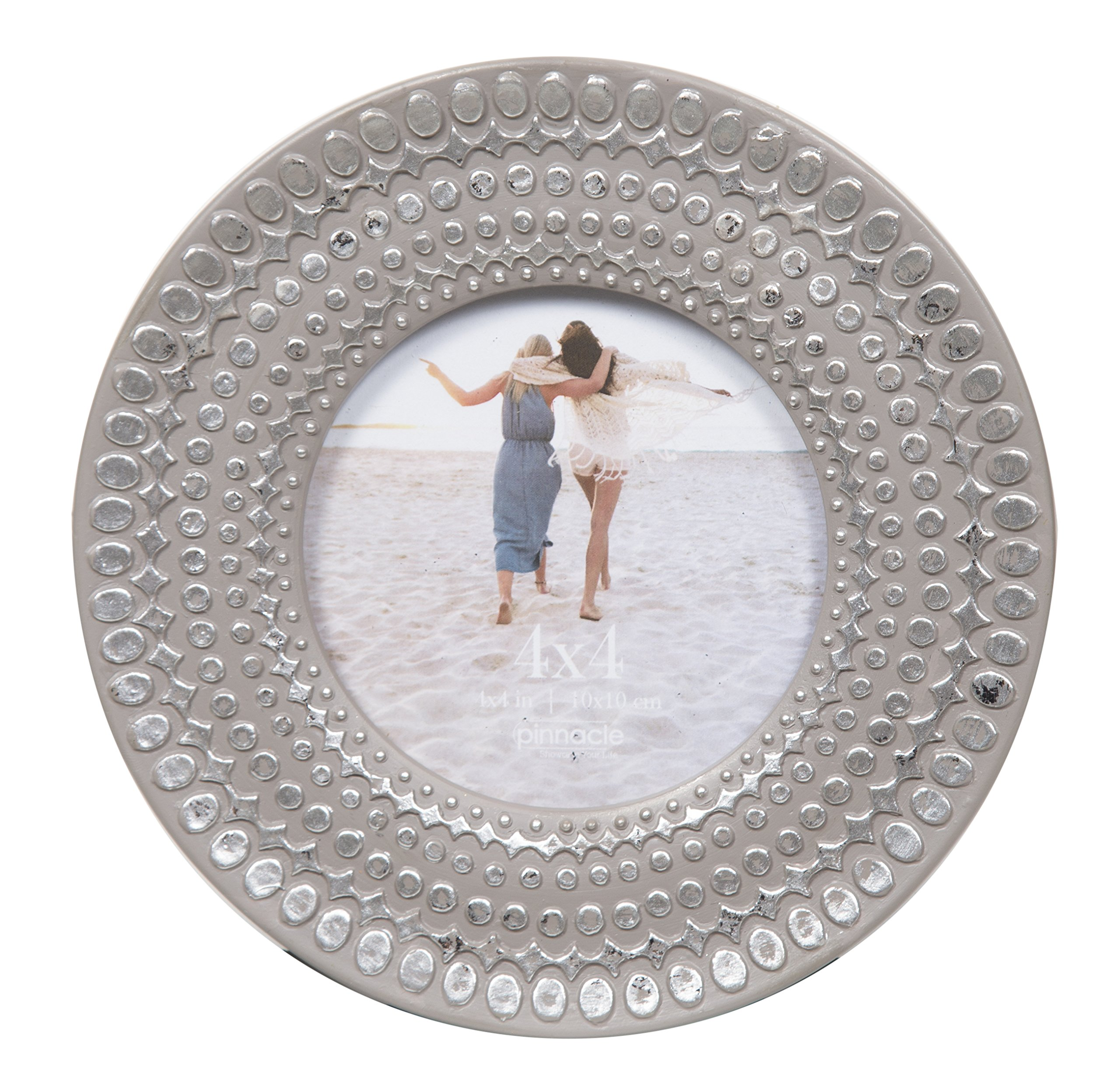 Pinnacle Frames and Accents 4X4 Grey Circle Frame with Silver DOTS, by Pinnacle Frames and Accents
