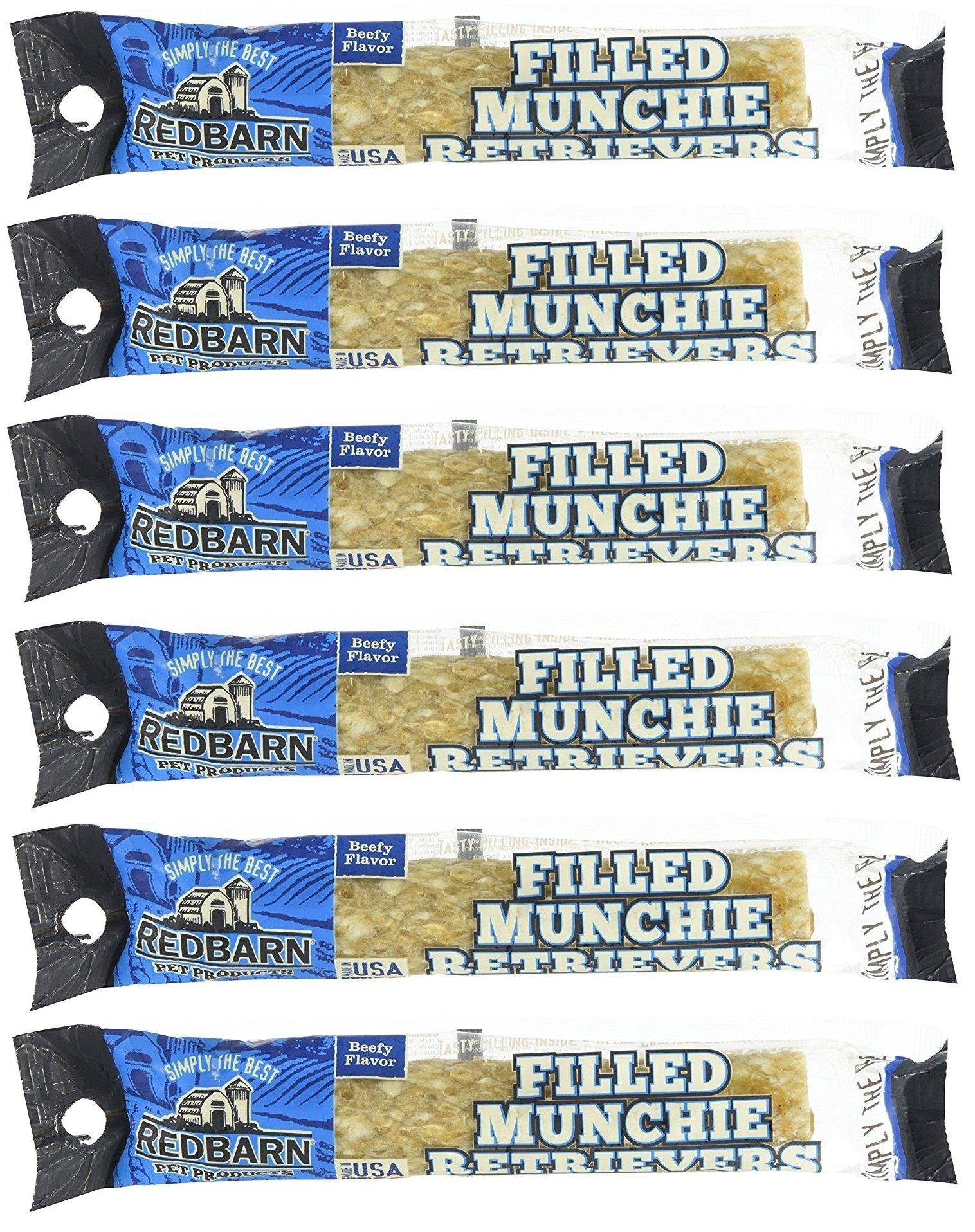 (6 Pack) Redbarn - Filled Munchie Retriever Roll, Beef