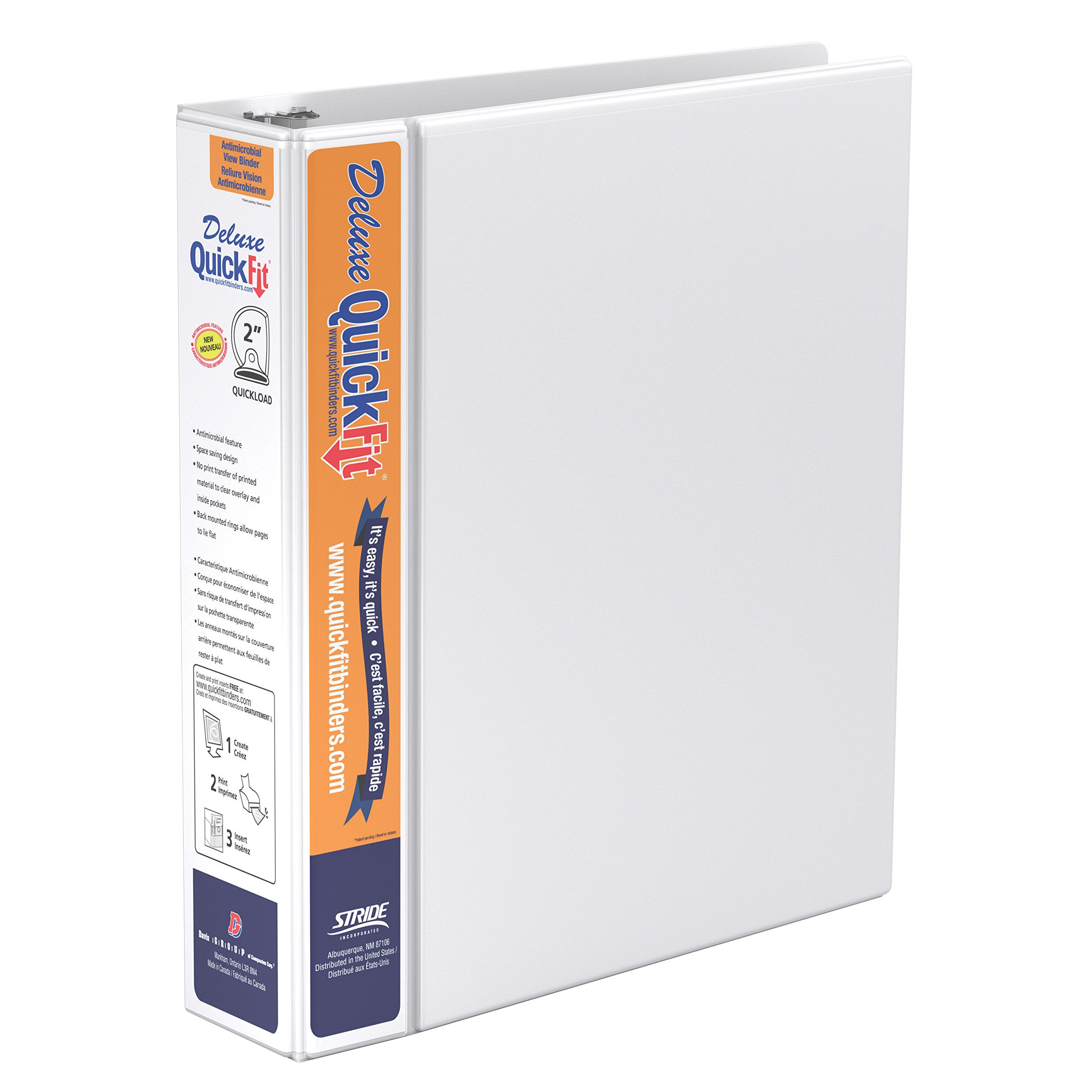 QuickFit Heavy Duty View Binder, 2 Inch, D Ring, White (89030)