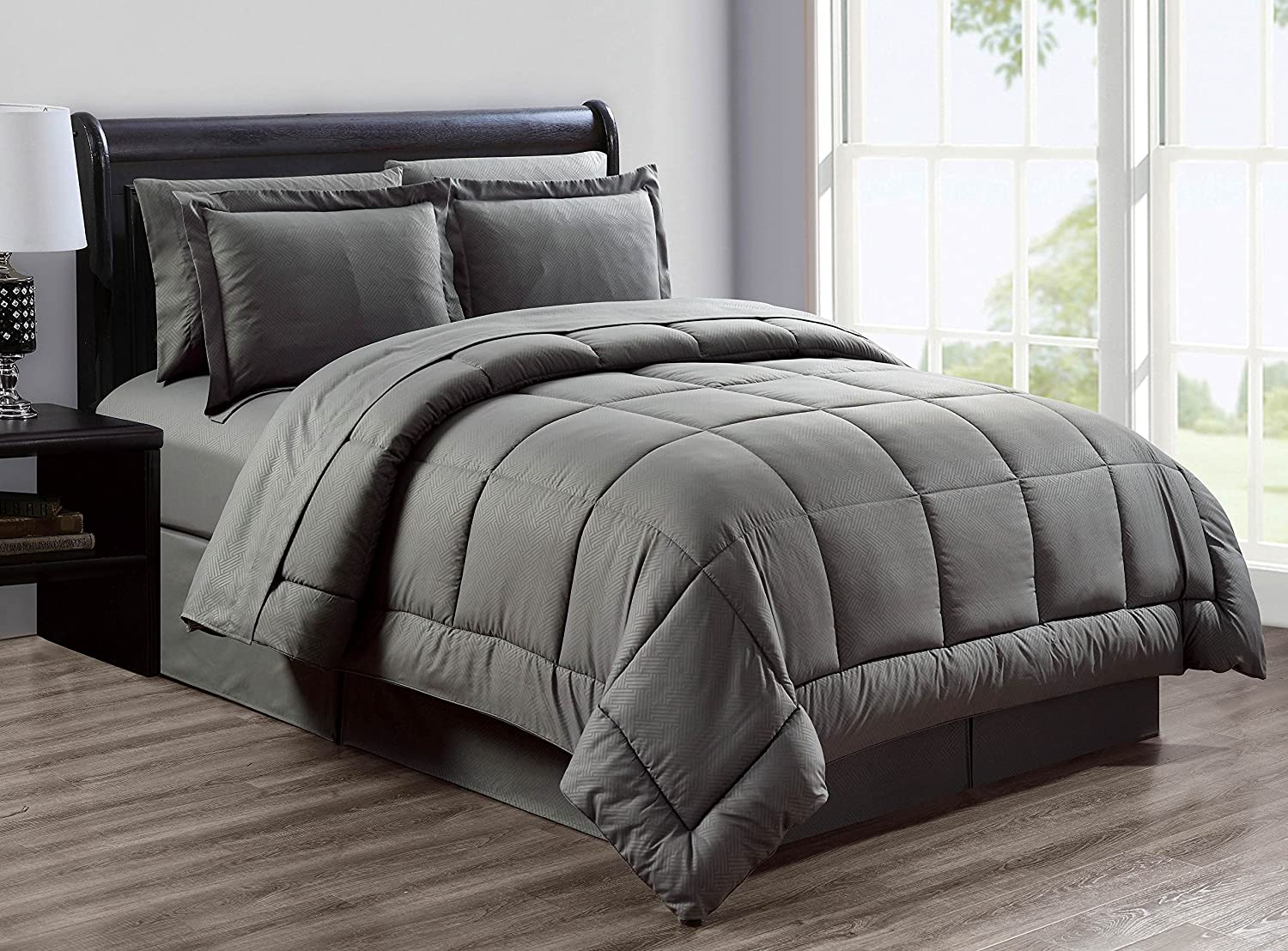 Milan Fashion Collection Queen Size Grey 8 Piece Bed in a Bag
