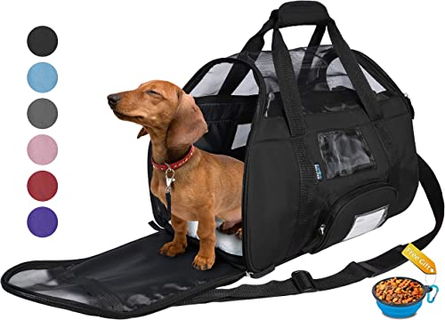 Tirrinia Soft Sided Pet Travel Carrier for Small Dogs and Cats Puppy Small Animals Airline Approved Removable Sherpa Lining Bed, Built-in Collar Buckle, Lost Found Tag Included