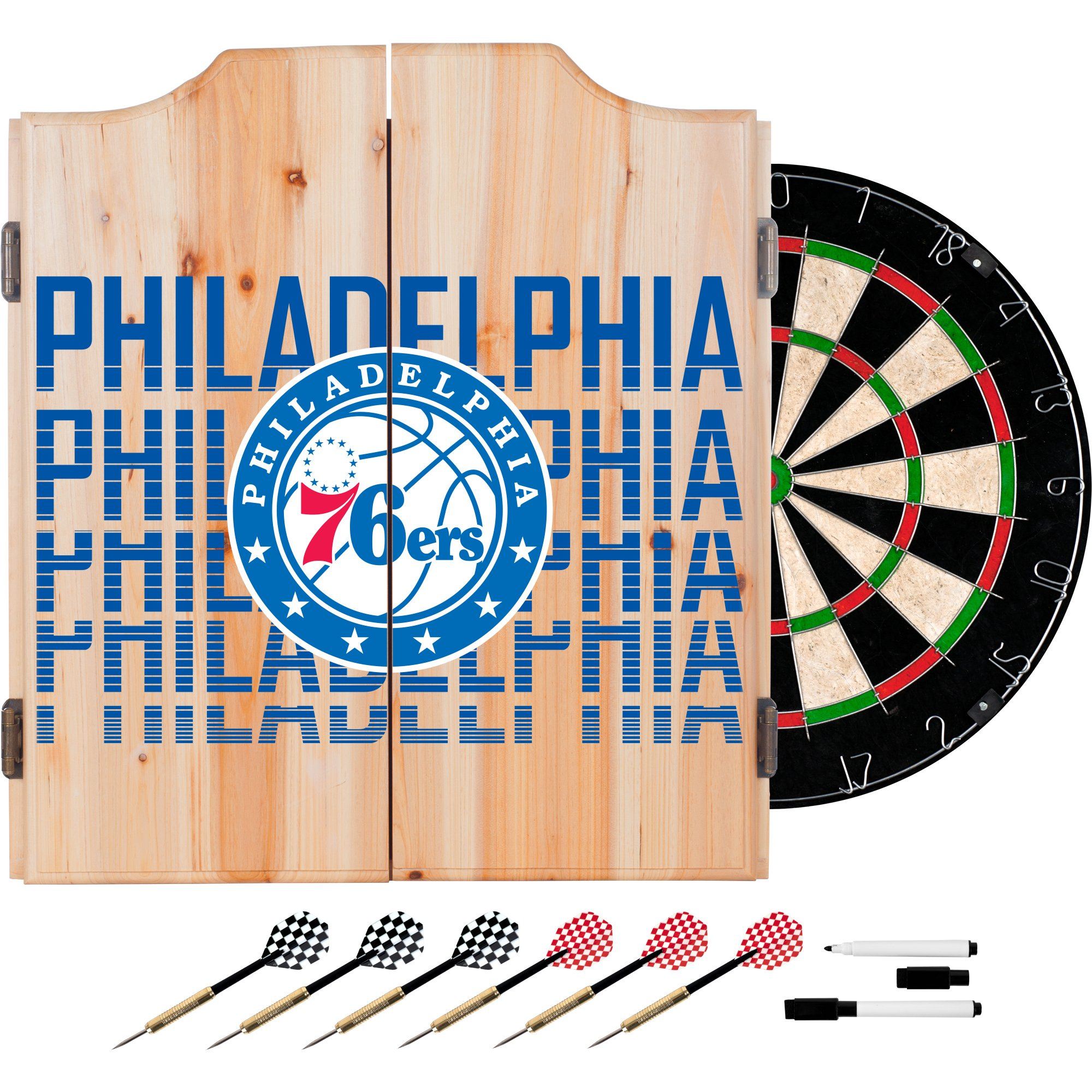Trademark Gameroom NBA7010-PH3 NBA Dart Cabinet Set with Darts & Board - City - Philadelphia 76Ers