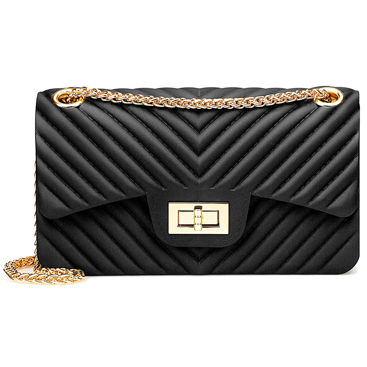 f5c064990556 Women Fashion Shoulder Bag Jelly Clutch Handbag Quilted Crossbody Bag with  Chain - Black  Handbags  Amazon.com