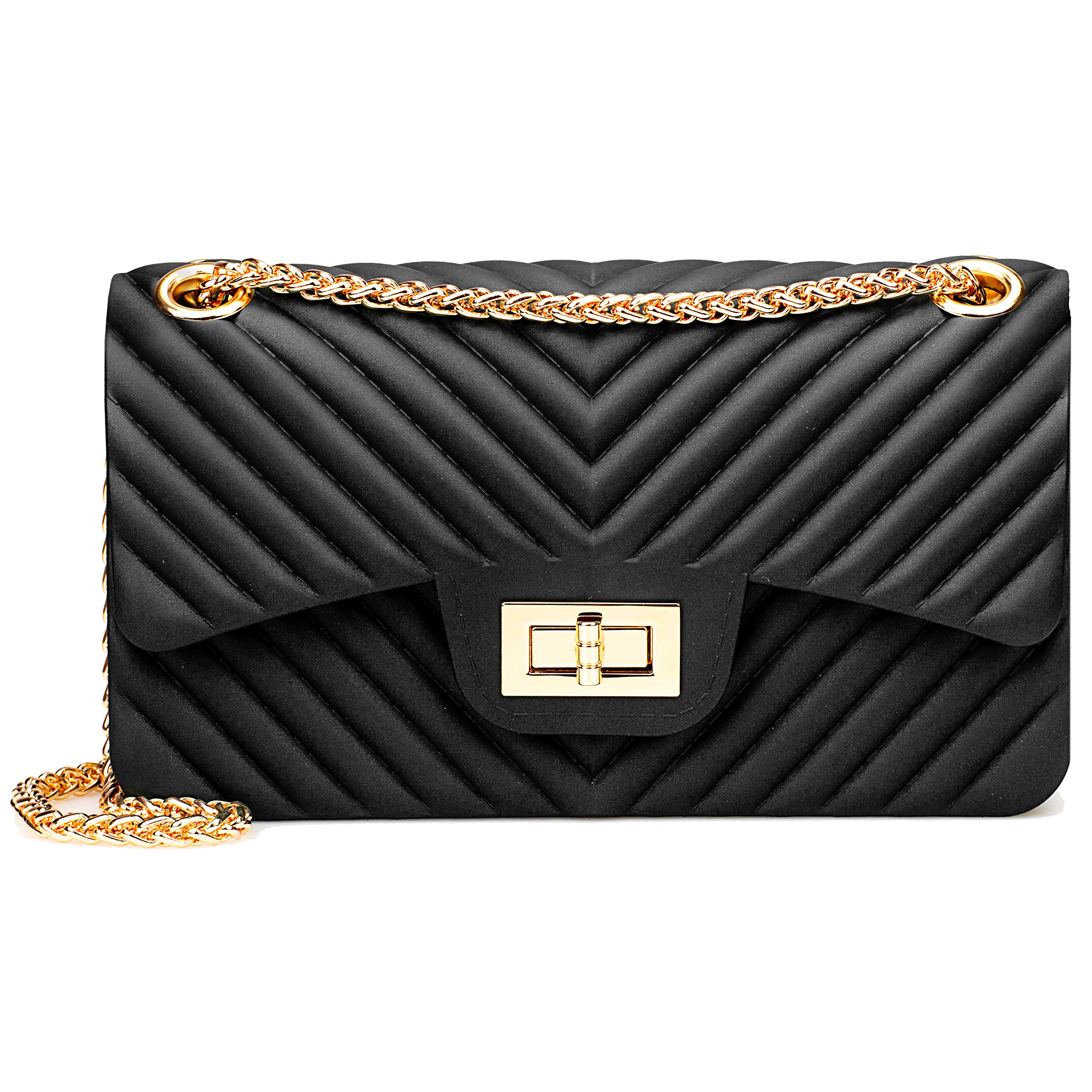 Women Fashion Shoulder Bag Jelly Clutch Handbag Quilted Crossbody Bag with Chain - Black