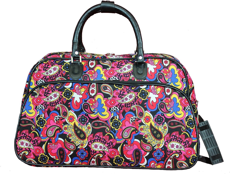 Stylish Bohemian Lightweight Travel Duffel Bag Eco-Friendly Beautiful Artisan Motif Flowers Themed Shoulder Tote Polyester Pink Blue Multi Girls Paisley Pattern Carry On Duffle Bag Fashionable