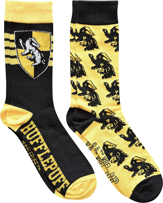 Harry Potter Hufflepuff House Crest Pattern Men's Crew Socks 2 Pair Pack Shoe Size 6-12