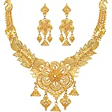 Mansiyaorange Party Collection Flower Jewellery Neckalce Sets for Women (One Gram Gold)