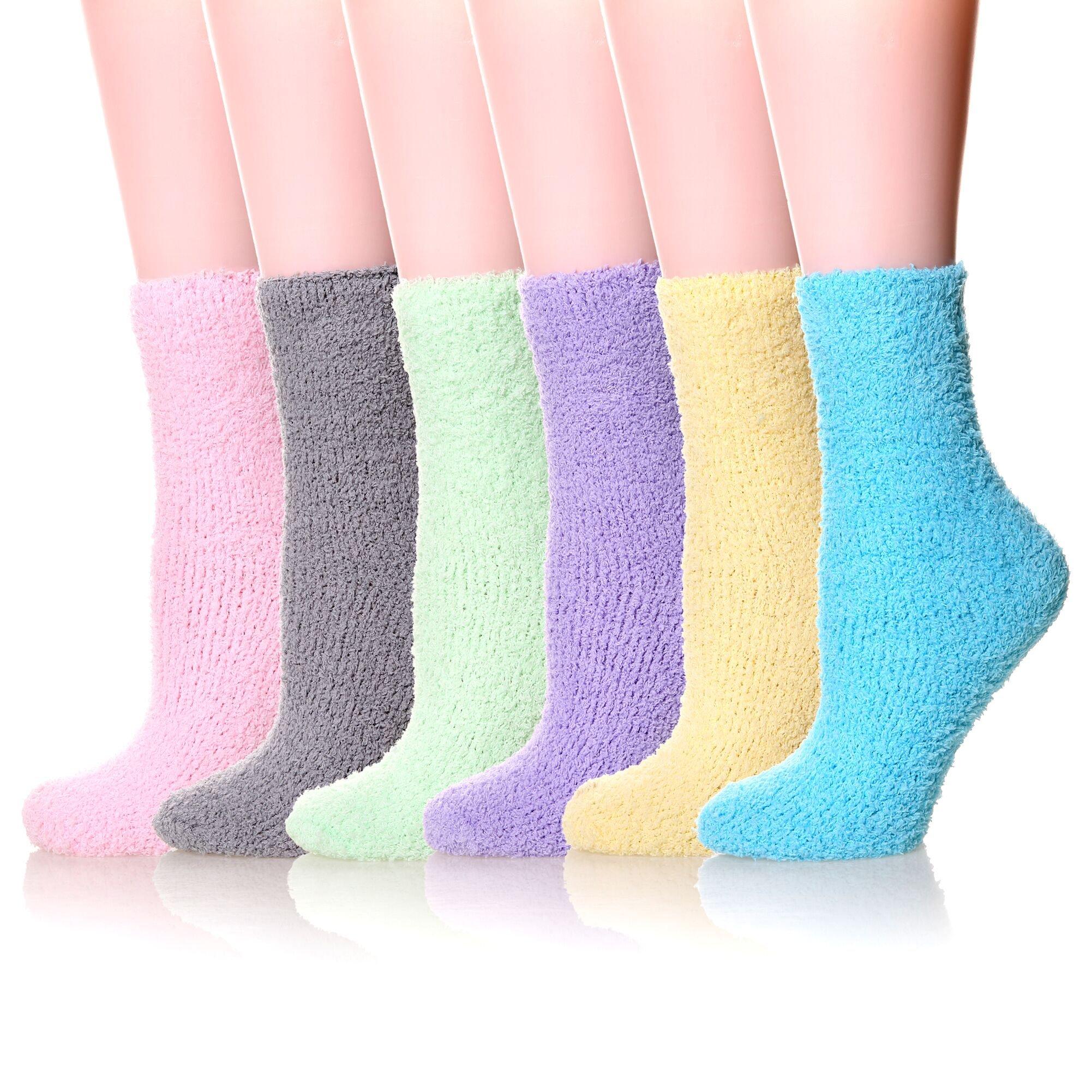 YEBING 6 Pairs Women's Cozy Slipper Socks Super Soft Fuzzy Winter Warm Socks Multi Color (6 Pack Style A)