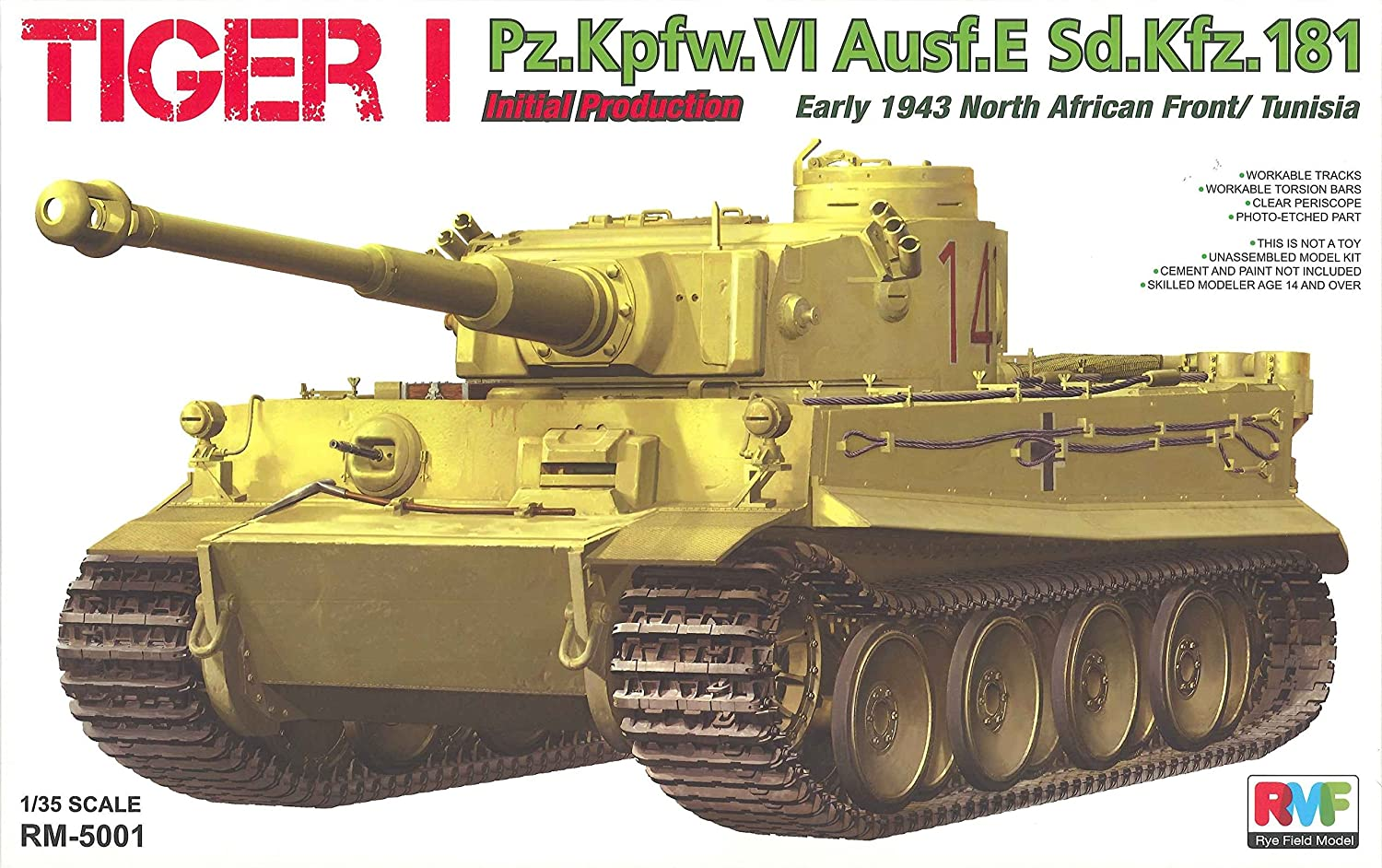 Rye Field Model RM-5001 - Modellbausatz Tiger I Initial Production Early 1943