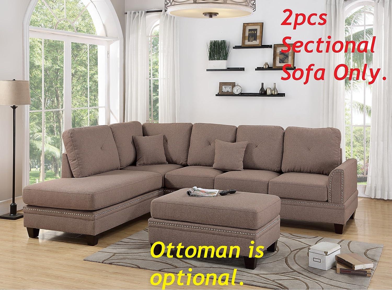 Amazon.com: 2-pcs Sectional Sofa Coffee Modern Sectional ...