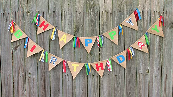 amazon com happy birthday burlap banner bunting custom made to