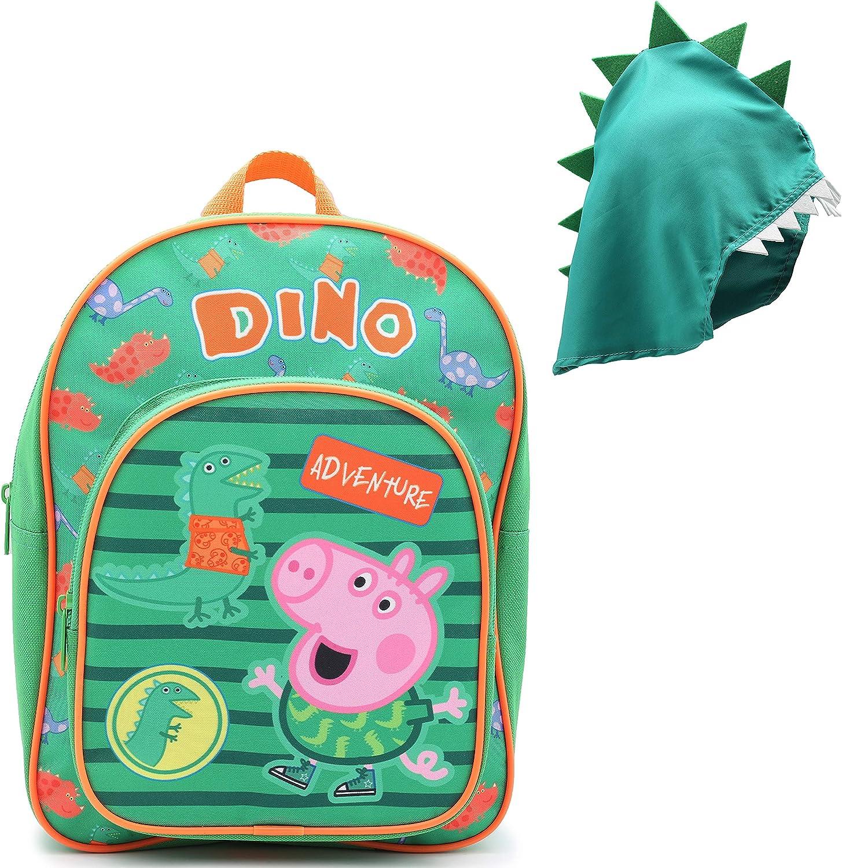 Mochila De Peppa Pig | Accesorio Escolar George Peppa Pig | Mochila con Capucha De Dinosaurio Desmontable para Niños