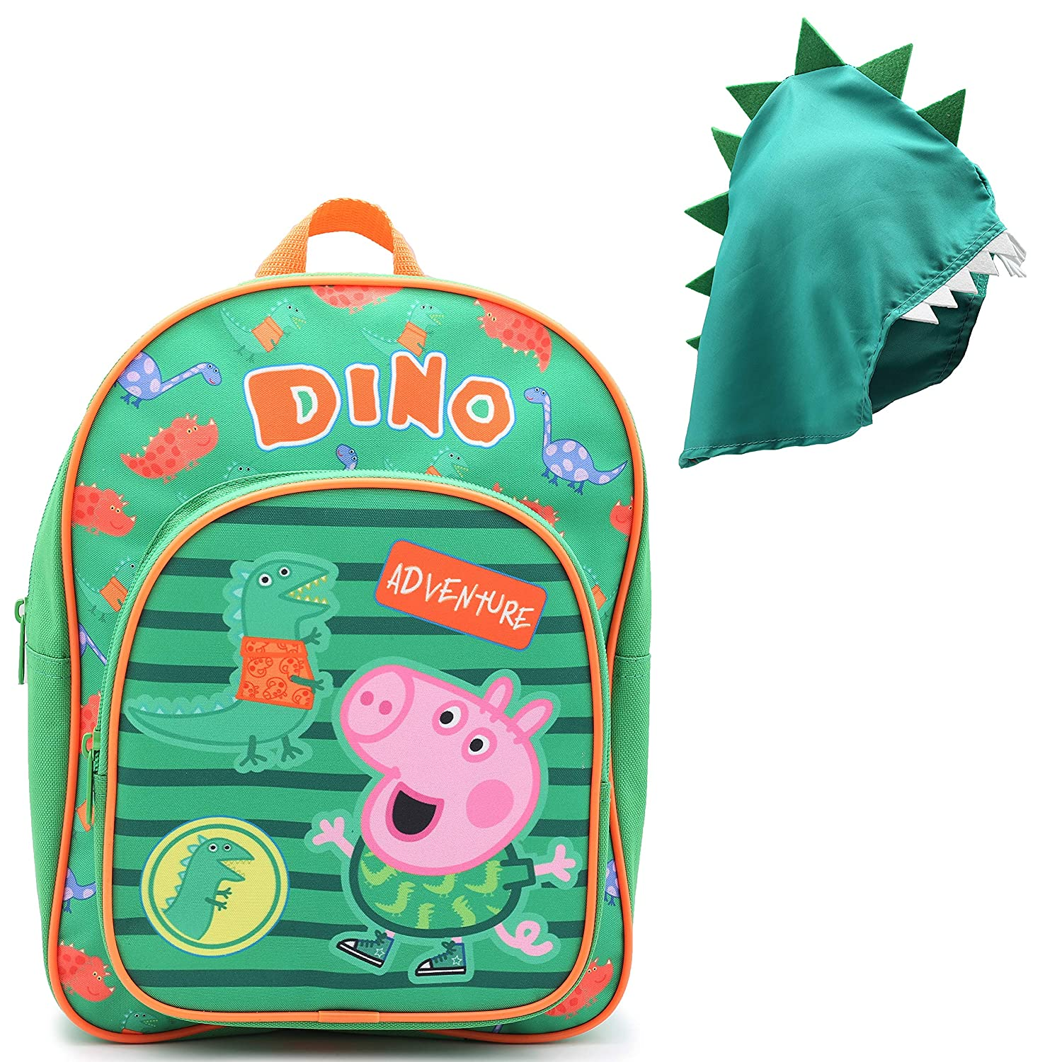 Peppa Pig Bag George Pig Backpack School Accessories with Detachable Dinosaur Hood Childs Rucksack