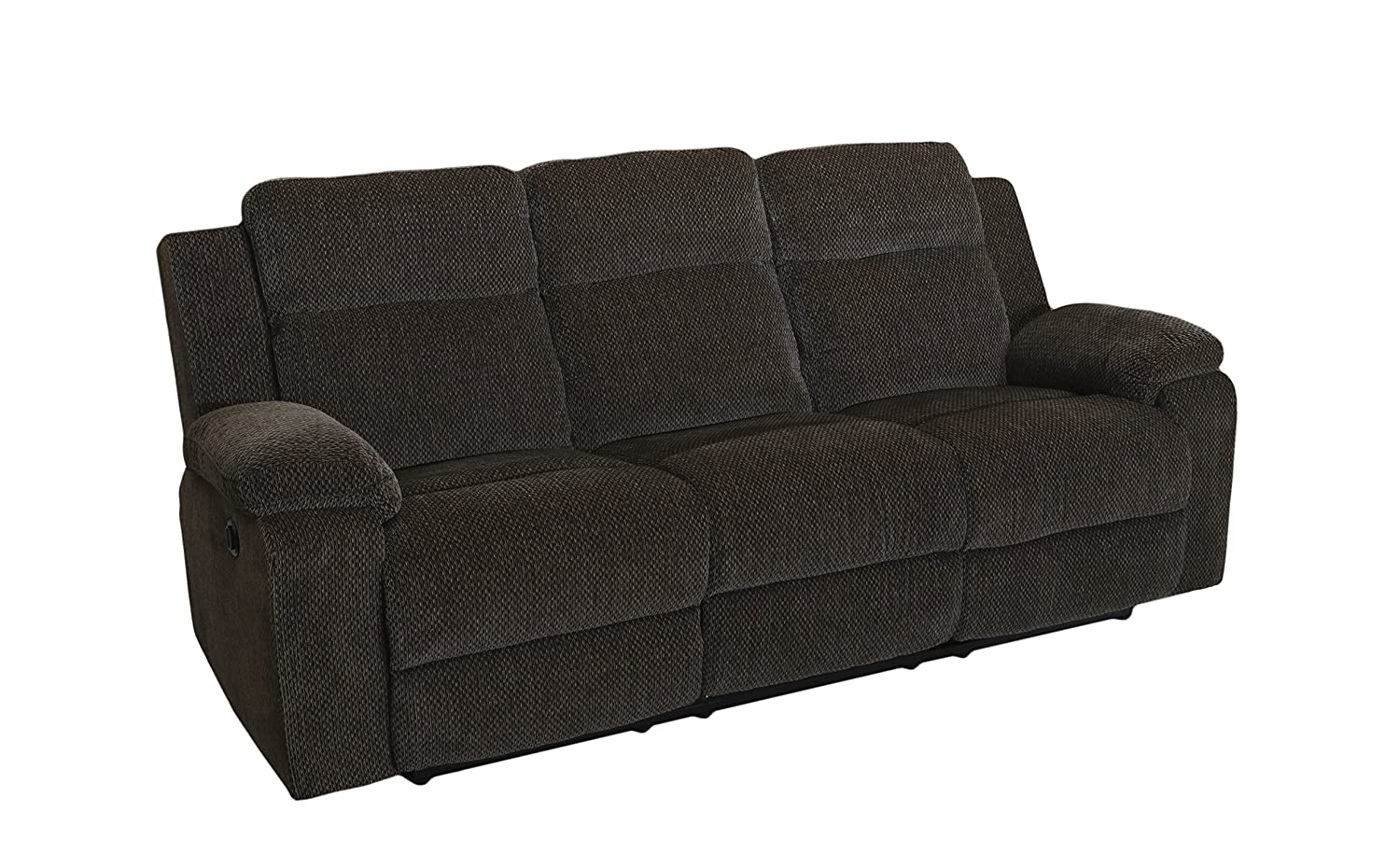New Classic Furniture Burke Upholstery Recliner Sofa, Power, Light Ebony