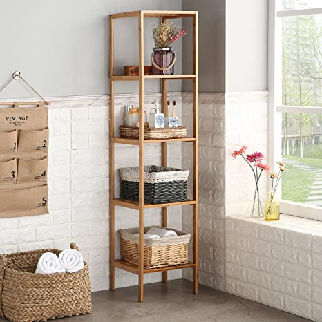 amazoncom finnhomy natural bamboo shelf wood 5 tier bathroom shelf unit tower bookshelf multifunctional storage rack display shelving unit free standing - Bathroom Shelf Unit