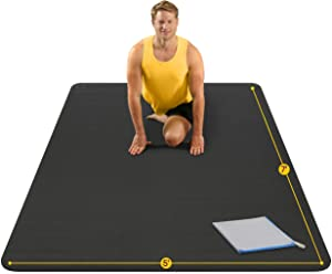 Large Yoga Mat 7'x5'x8mm Extra Thick, Durable, Eco-Friendly, Non-Slip & Odorless Barefoot Exercise and Premium Fitness Home Gym Flooring Mat by ActiveGear