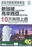 シンガポール・マレーシア プリペイドSIMカード 10日利用 高速4G・3Gデータ通信 容量3GB
