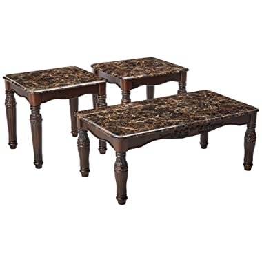 Ashley Furniture Signature Design - North Shore Occasional Table Set - End Tables and Coffee Table - 3 Piece - Rectangular - Dark Brown with Faux Marble Top
