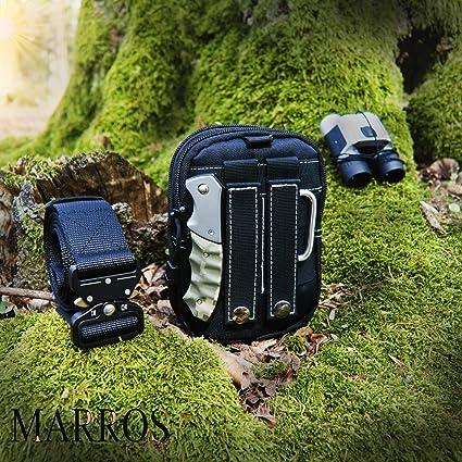 Schnellverschluss G/ürtel inkl MARROS taktisches Set f/ür Damen und Herren taktischer H/üft Nylon Tasche und Karabiner Haken f/ür Outdoor und Freizeit in der Farbe Schwarz oder Khaki.
