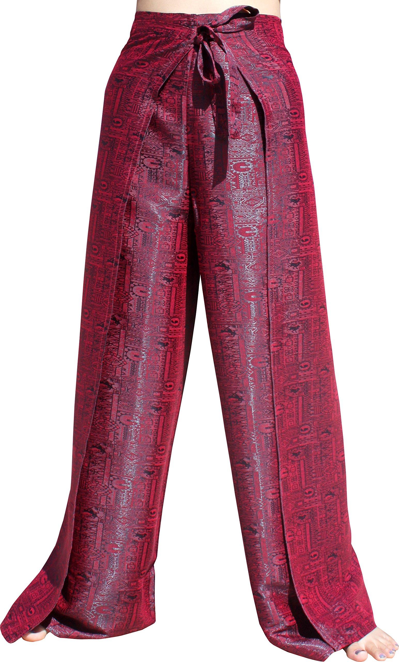 RaanPahMuang Brand Geometric Thick Textured Silk Drive In Wrap Pants, Medium, Bitter Red by RaanPahMuang