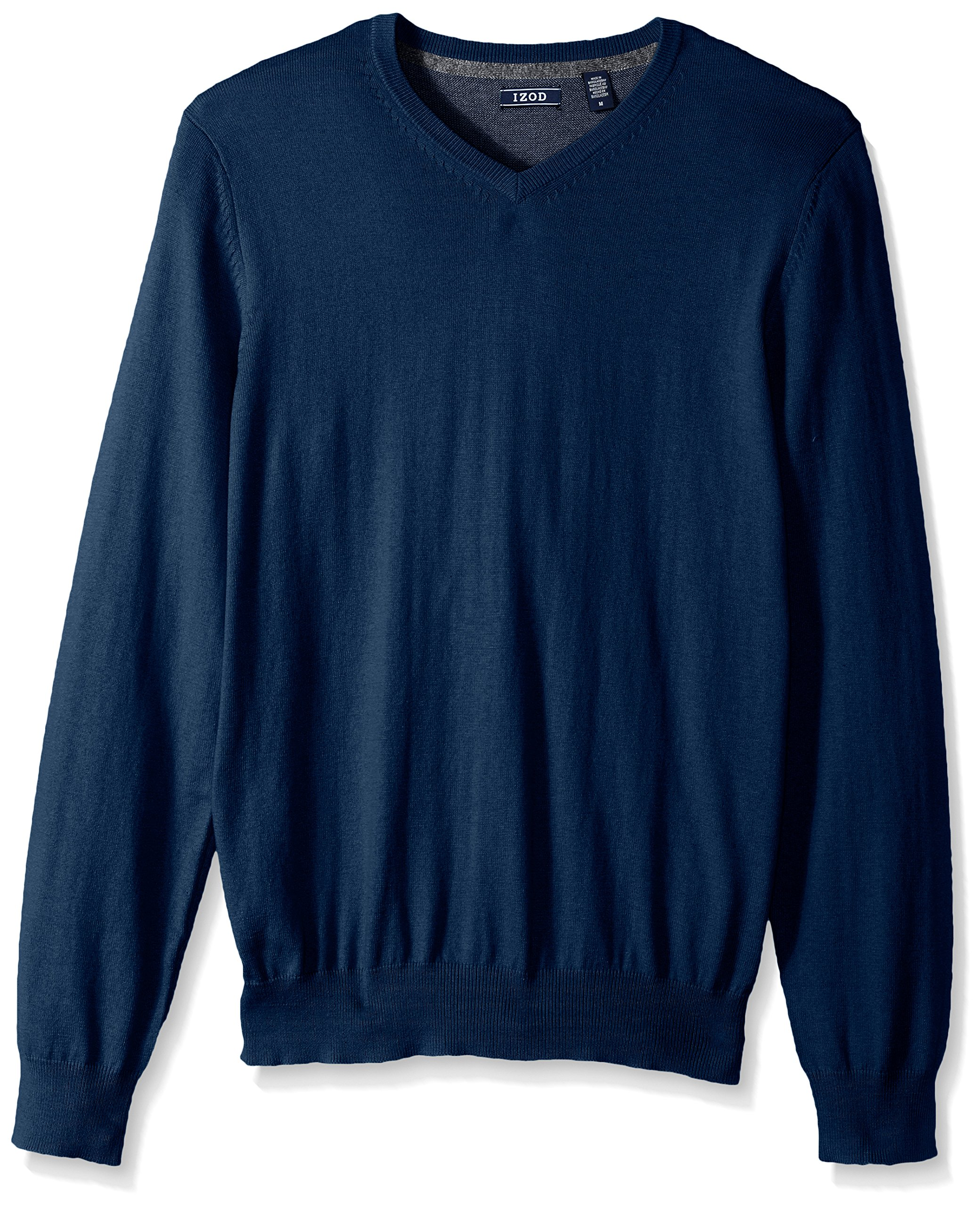 IZOD Men's Fine Gauge Solid V-Neck Sweater, Estate Blue, X-Large