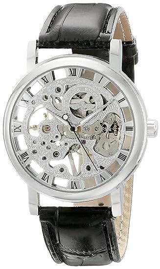 Reloj Mecánico Esqueleto de Cuerda Manual con Esfera Plateada y Correa Negra de Piel MW-07: Amazon.es: Relojes