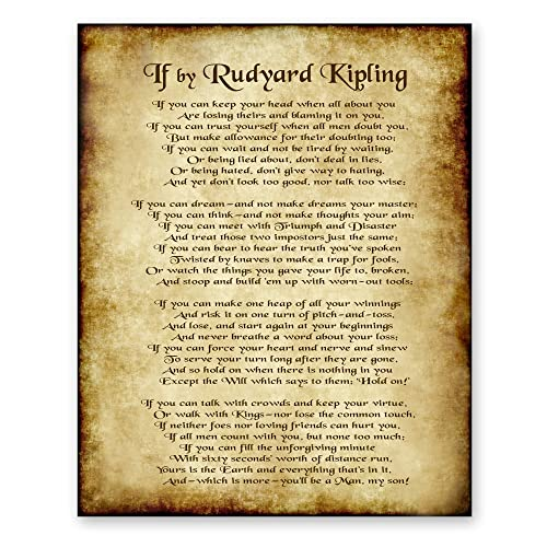 If Poem By Rudyard Kipling Office Home Decor Wall Art Poetry Gift 8x10 Antique Print