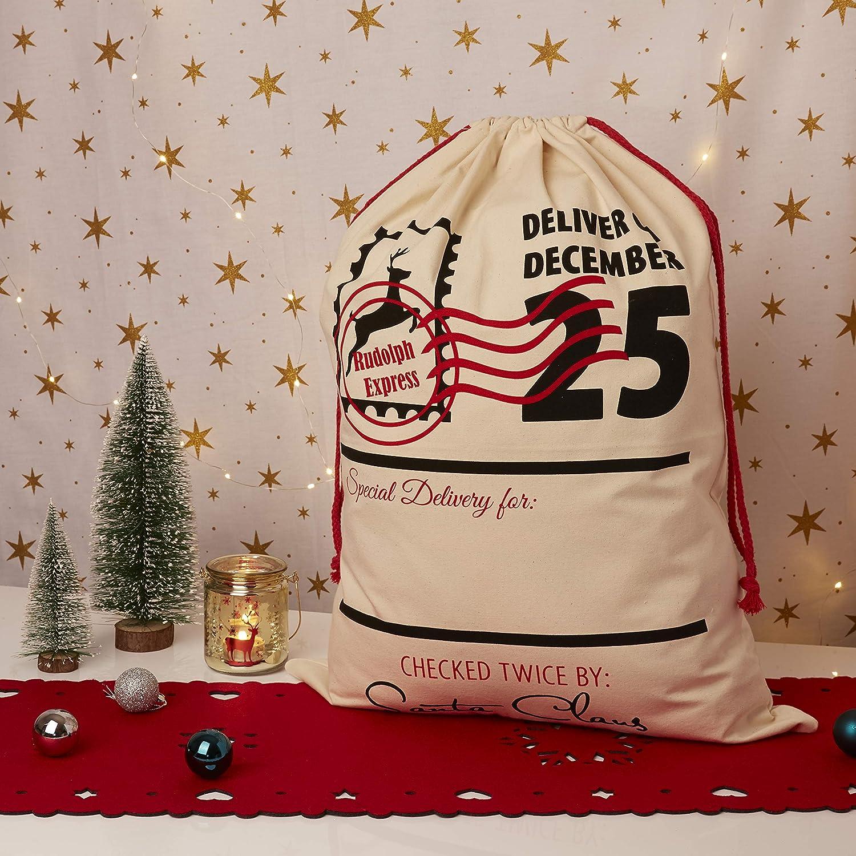 UltraByEasyPeasyStore Rudolph Express Grande Personalizzare Vuota Novelty Sacchi di Natale Babbo Sacchetto Bambini Adulti 70 x 50 cm con Cordino Regali