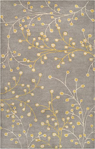 Surya Athena ATH-5060 Transitional Hand Tufted 100 Wool Elephant Gray 5' x 8' Floral Area Rug