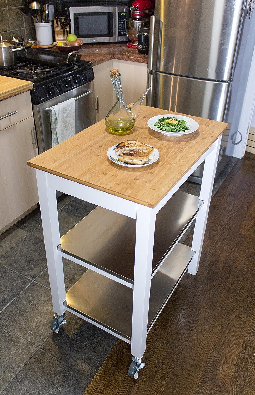 Ecke Housewares Bambus Küchenrollwagen mit Speicher Ultimative ...