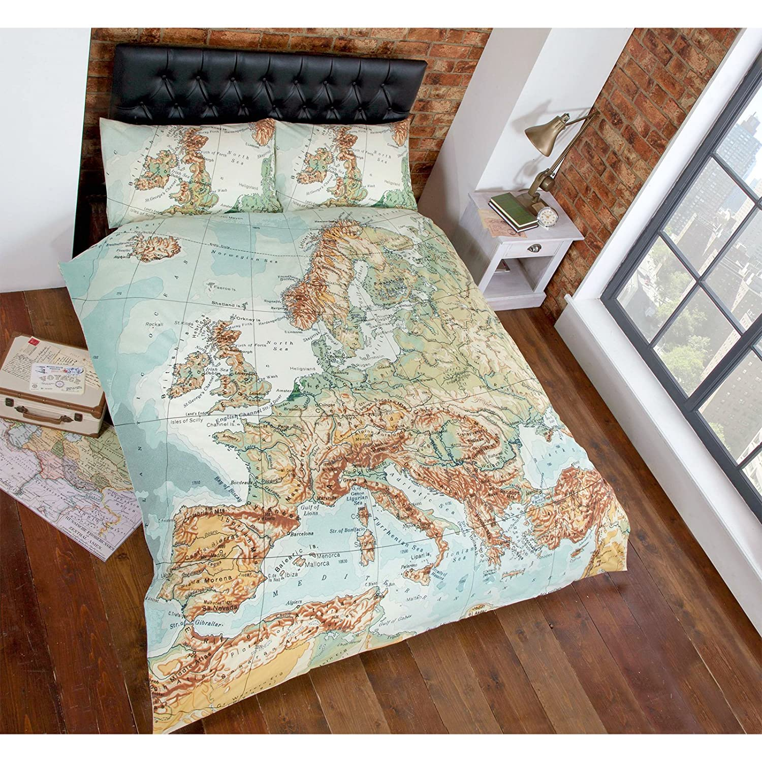 Just contempo vintage map duvet cover set double green amazon just contempo vintage map duvet cover set double green amazon kitchen home gumiabroncs Image collections