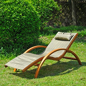 New MTN G Lounge Chair Wood Chaise Beach Yard Patio Camping Lounger W/  Headrest