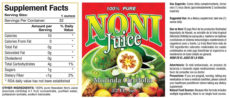 Amazon.com: Noni Jugo Autentico importado de Hawaii. Aumenta defensas, efectivo como tratamiento para combatir fatiga cronica, catarros, gripes.