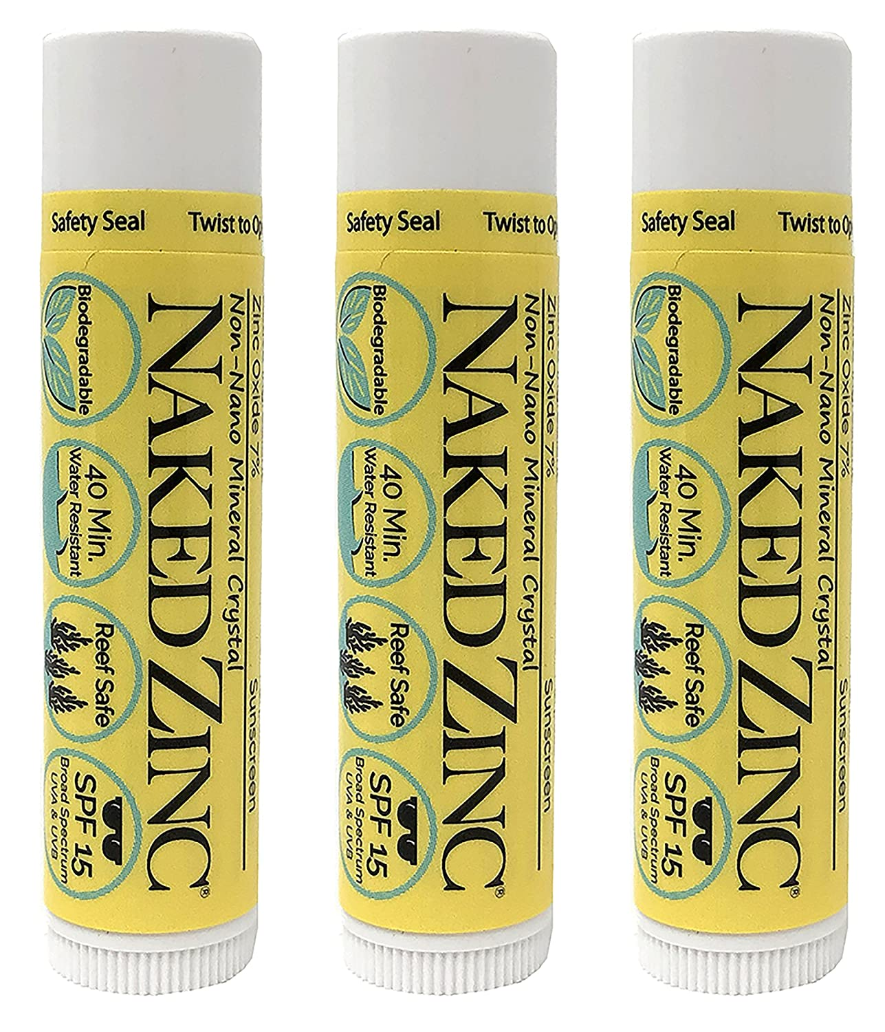 The Naked Bee Non-Nano Zinc Lip Balm Sunscreen SPF 15 (0.15 Ounce) Pack of 3 – Reef Safe Paraben-Free No Mineral Oil No Chemical Absorbers