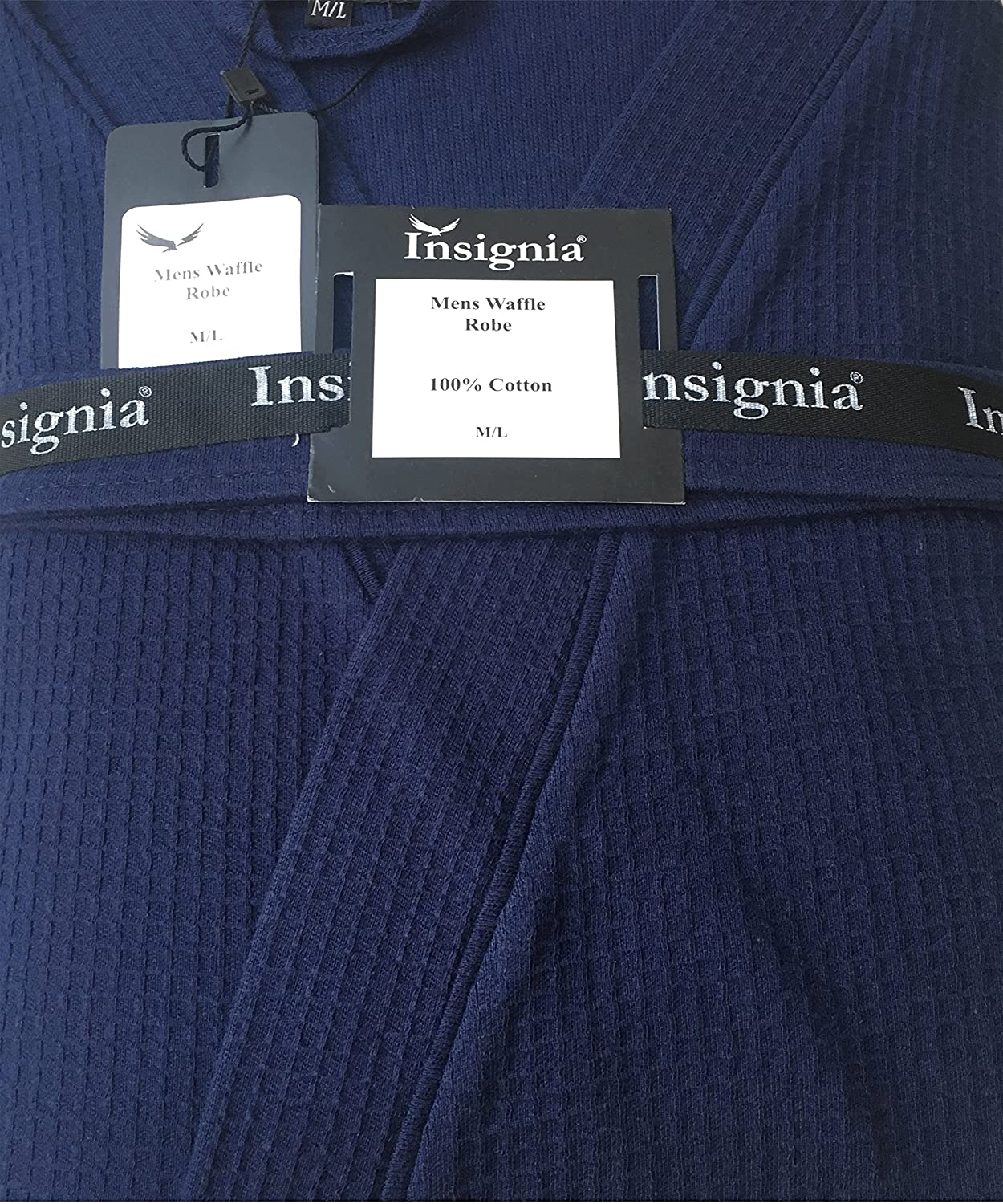 INSIGNIA Men's 100% Cotton Robe Dressing Gown, Soft Waffle Robe Wrap Loungewear