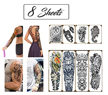 2cfd2799a Temporary Tattoos Hawaiian Tribal Large Full Arm and Half Sleeves (8  Sheets) Premium High