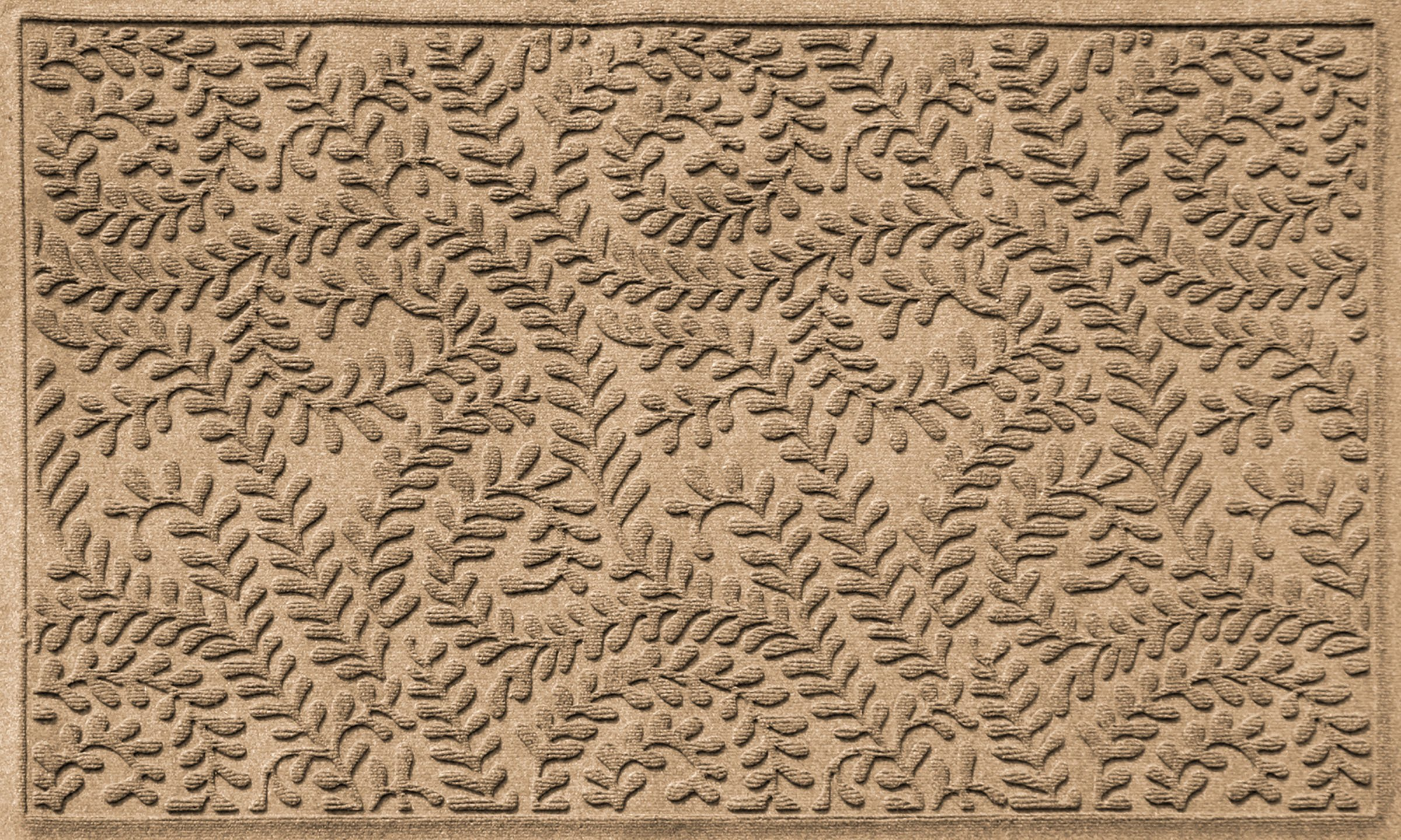 Bungalow Flooring Waterhog Doormat, 3' x 5', Skid Resistant, Easy to Clean, Catches Water and Debris, Boxwood Collection, Khaki