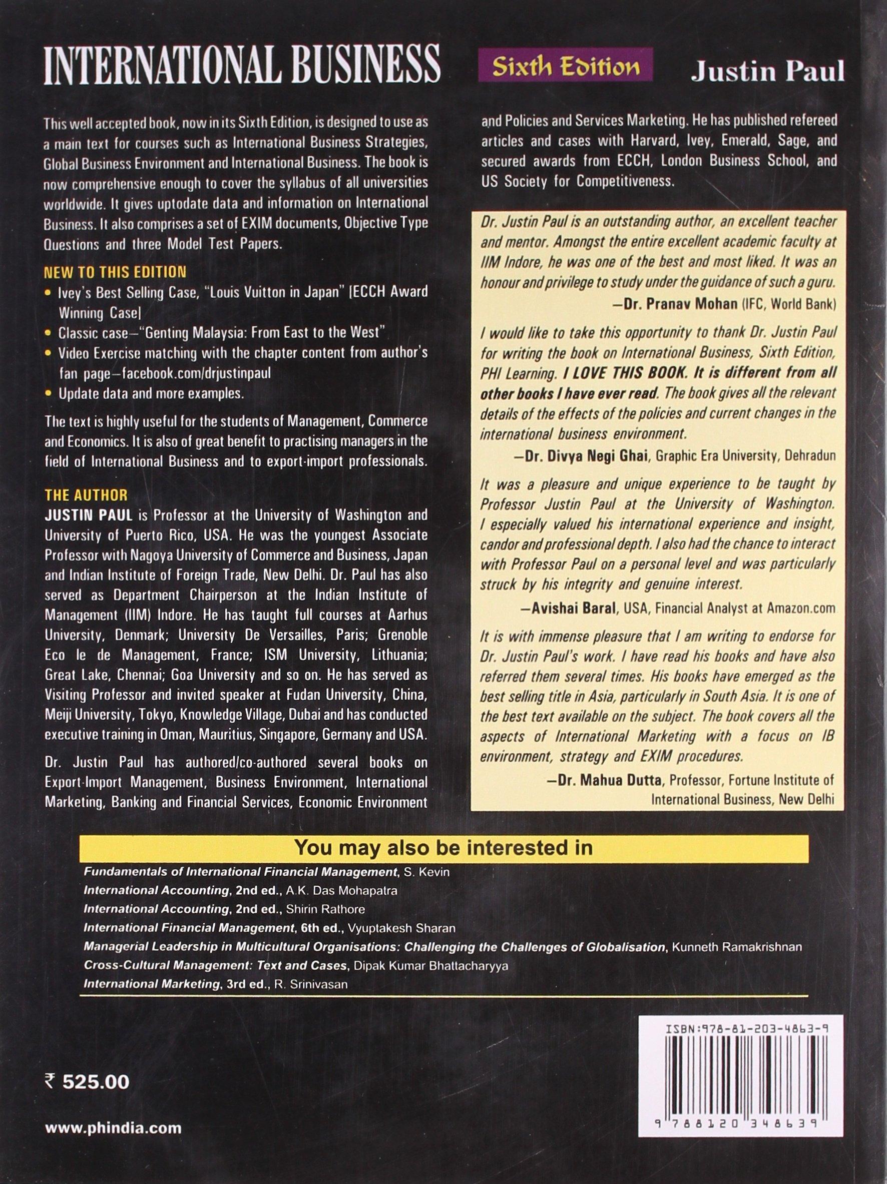 international business justin paul com books