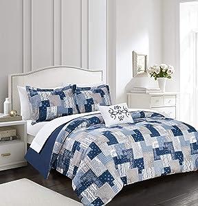 Chic Home Utopia 4 Piece Reversible Duvet Cover Set Patchwork Bohemian Paisley Print Design Bedding - Decorative Pillow Shams Included, King, Blue