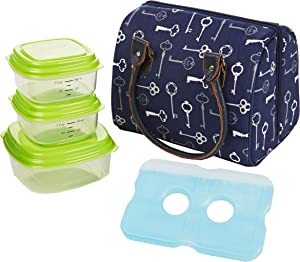 Fit & Fresh Jackson Women's Insulated Lunch Bag with Portion Control Container Set and Ice Pack, Complete Lunch Kitfor Work and School, Navy Blue Keys
