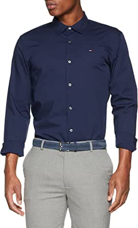 Tommy_Jeans Tjm Original Stretch Shirt, Camisa Hombre, Azul (Black Iris 002), Large