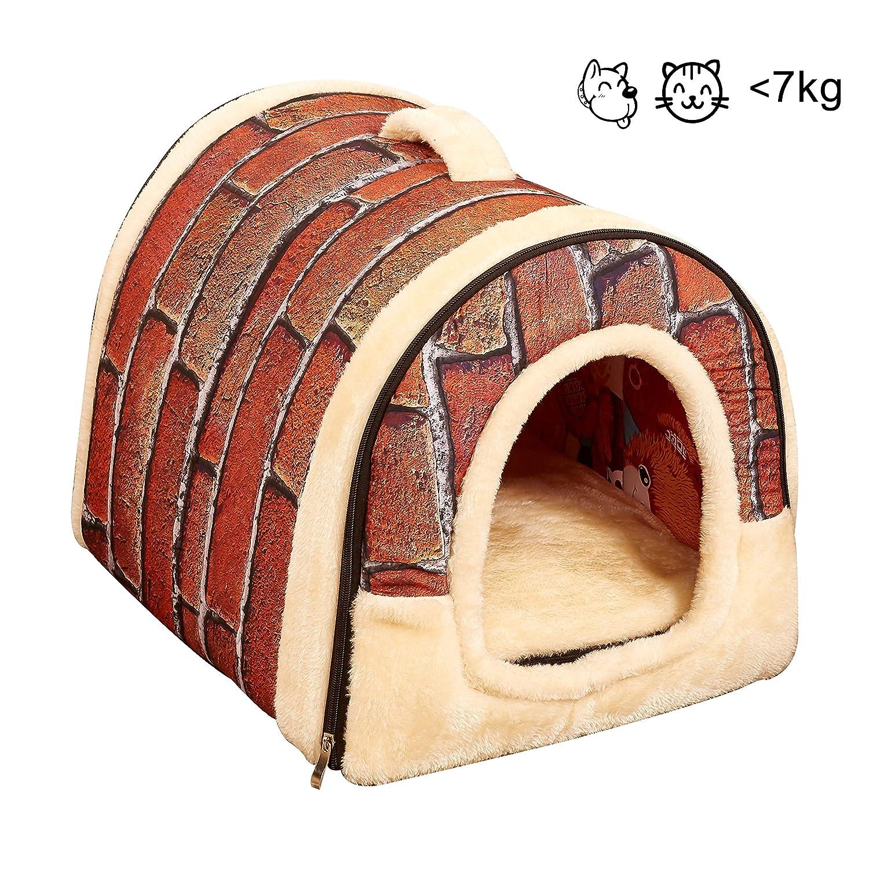 homeofboutique niche chien chat 2 en 1 maison animal de compagnie interieur grand petit