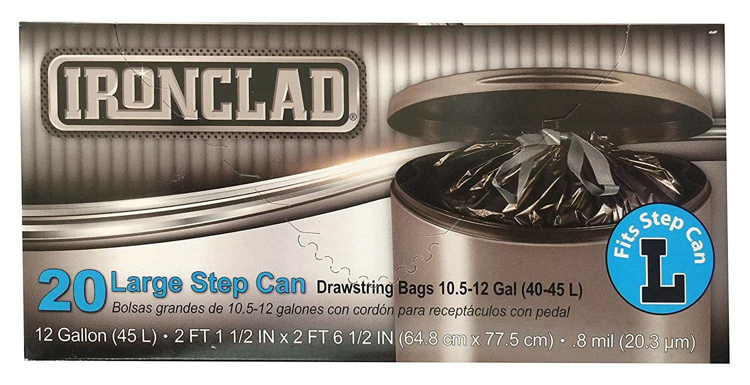 40 Count Size L Ironclad Drawstring Large Step Can Trash Bags 12 Gal // 45L