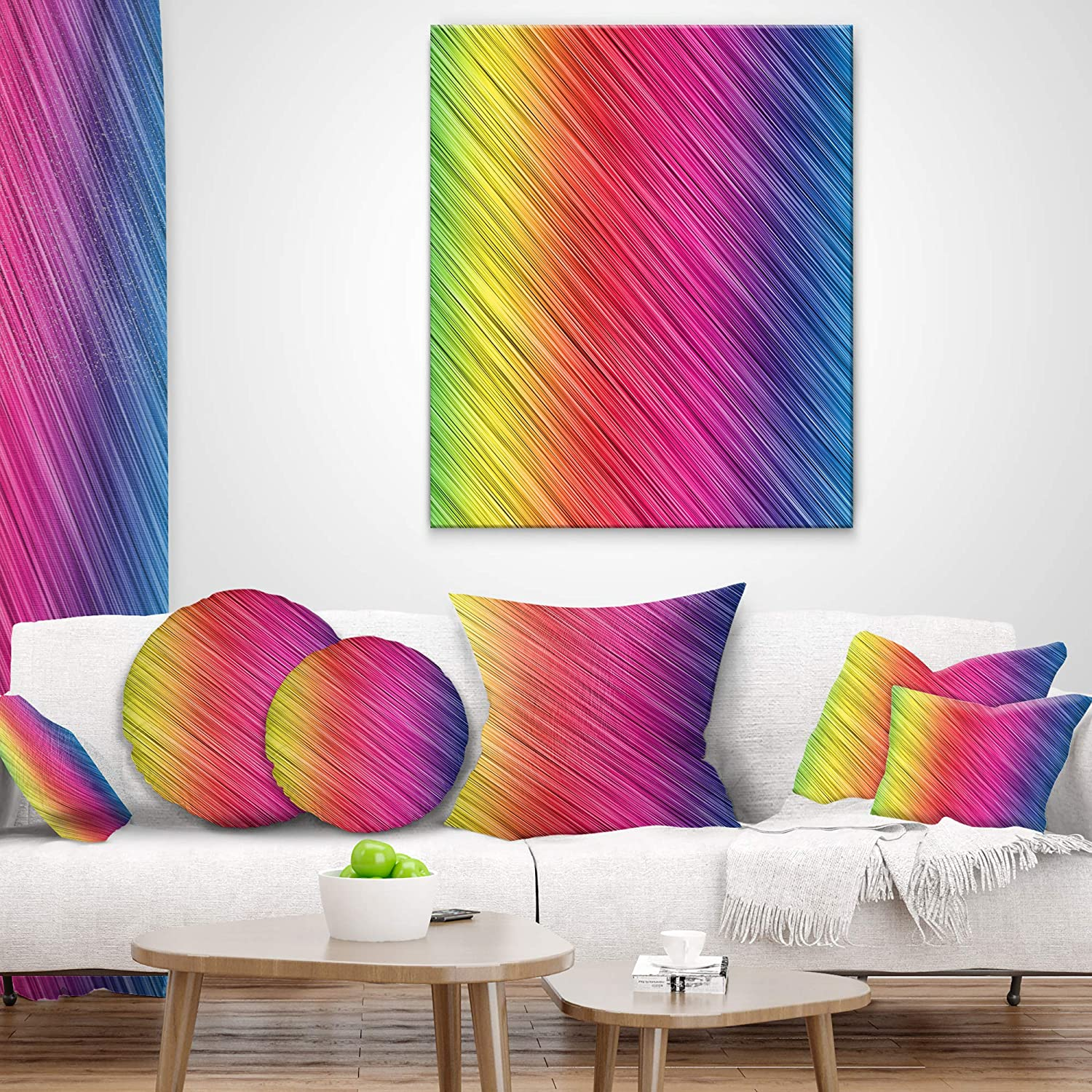 in Insert Printed On Both Side Sofa Throw Pillow 12 in x 20 in Designart CU8147-12-20 Multi Color Neon Glowing Lines Abstract Lumbar Cushion Cover for Living Room