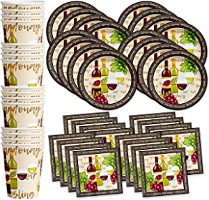 Wine Birthday Party Supplies Set Plates Napkins Cups Tableware Kit for 16